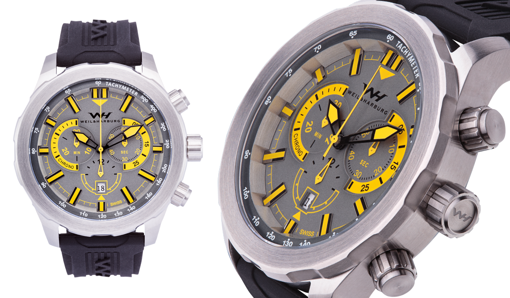 Stainless Steel / Gray and Yellow Dial