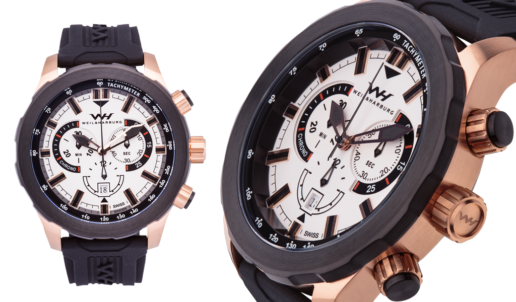 Rose Gold Plated (Black Plated Bezel) / White Dial