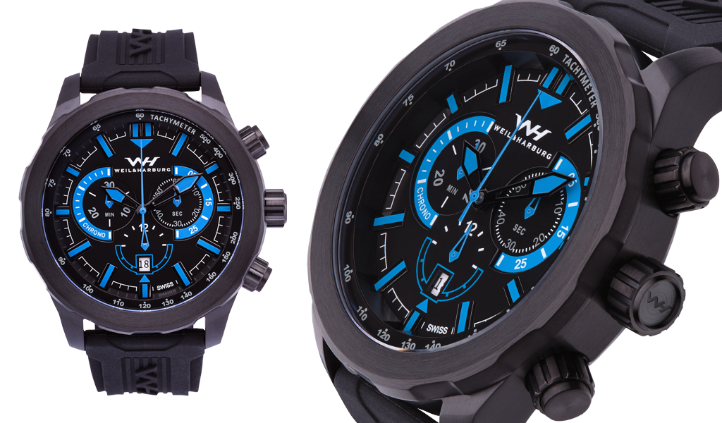 Black Plated / Black and Blue Dial