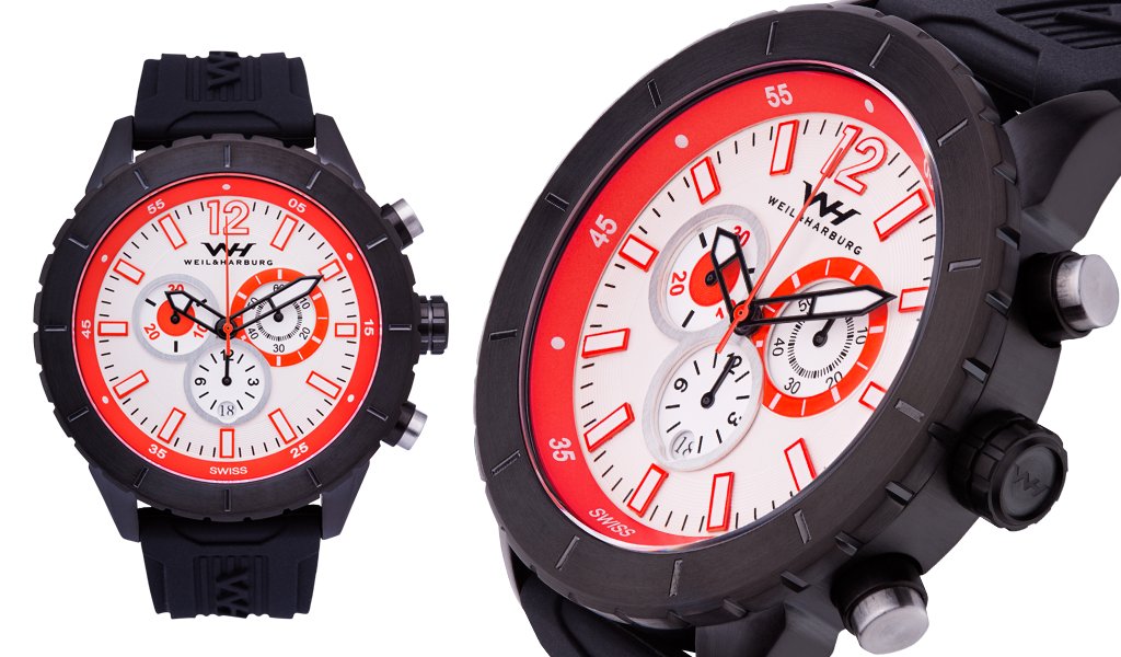 Black Case with White/Red Dial, Silicone Band