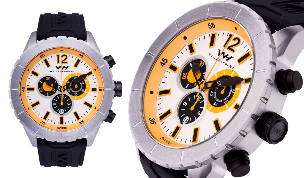 Stainless Steel Case with White/Yellow Dial, Silicone Band