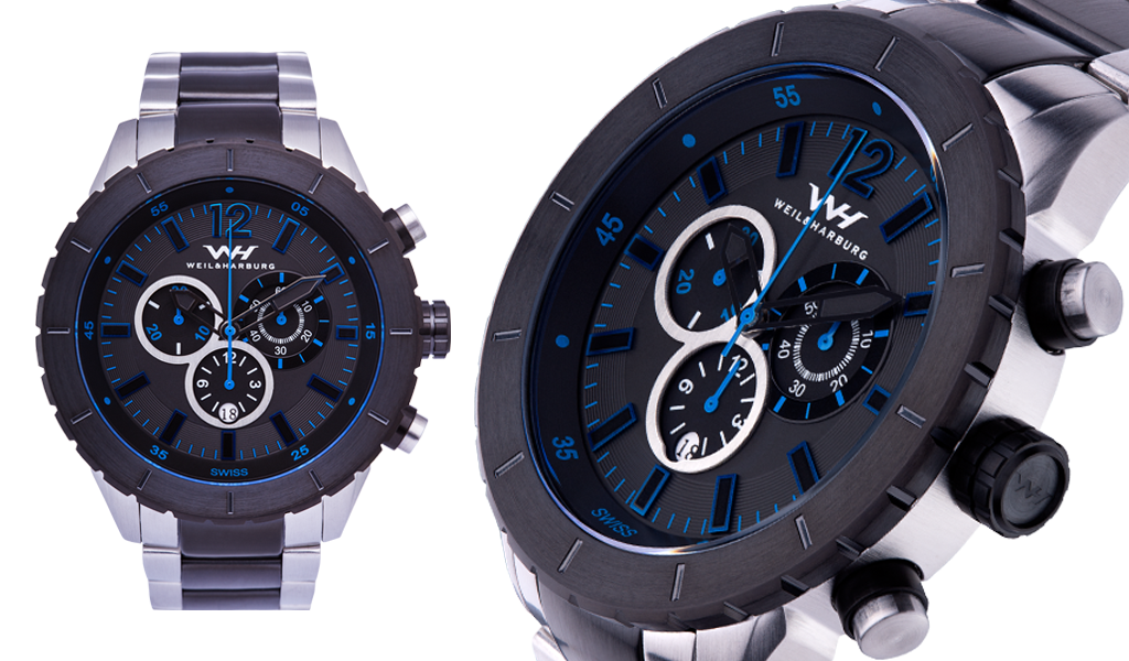Stainless Steel Case/Bracelet with Black/Blue Dial