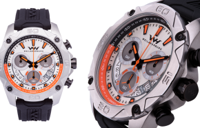 Stainless Steel Case / White Dial with Orange elements
