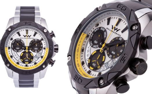 Stainless Steel and Black case / White Dial with Yellow elements