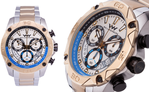 Stainless Steel with Gold Plated details / White and Blue Dial