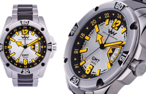 Stainless Steel Case and Bracelet with Gray/Yellow Dial