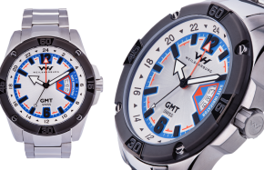 Stainless Steel Case and Bracelet with Gray/Blue/Red Dial and Details