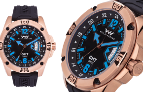 Rose Gold Plated Case with Black/Blue Dial and Silicone Strap