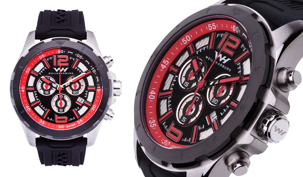 Stainless Steel with Red Dial / Silicone Strap