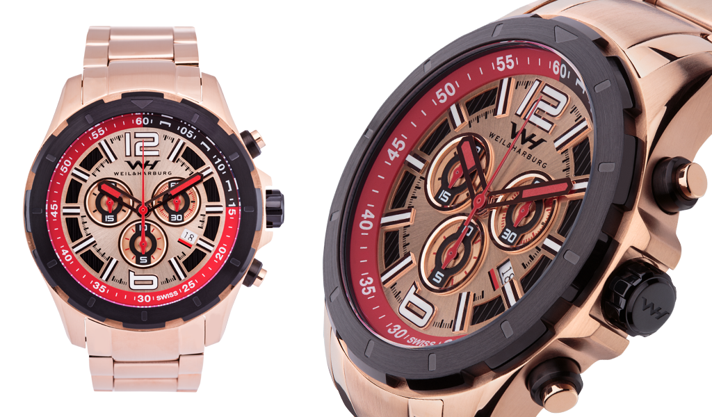 Rose Gold Plated Steel with Red and Rose Gold Dial / Bracelet