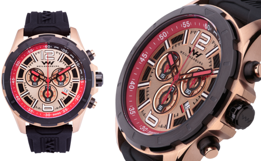 Rose Gold Plated Steel with Red and Rose Gold Dial / Silicone Strap