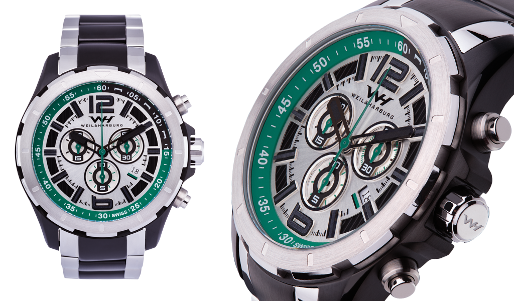 Stainless Steel / Black Plated Details with Green Dial / Bracelet