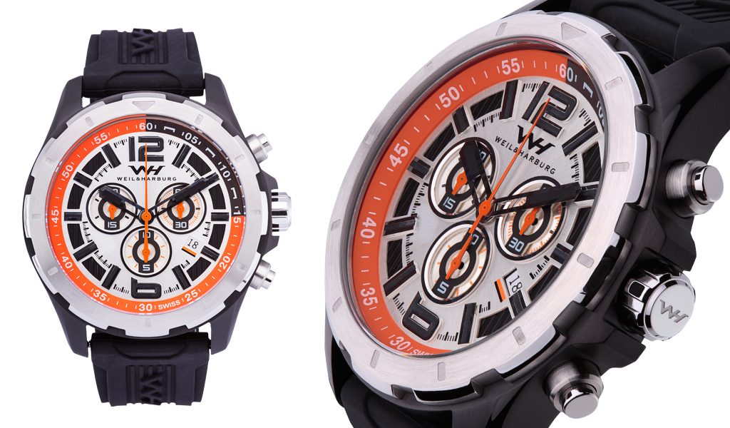 Stainless Steel/Black with Orange Dial / Silicone Strap