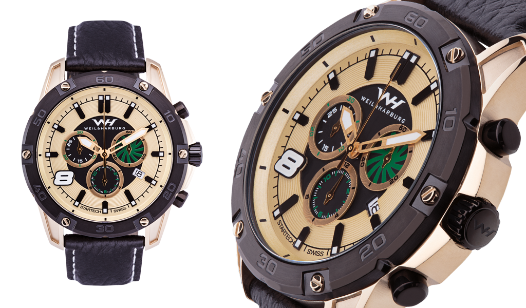 Gold Plated Case with Black Plated Bezel. Gold Plated / Black / Green Dial