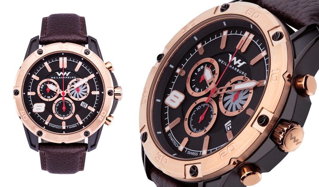 Black Plated Case with Rose Gold Plated Bezel. Gold Plated / Black / Red Dial