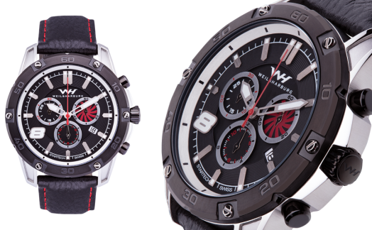Stainless Steel Case with Black Plated Bezel. Black / Red Dial