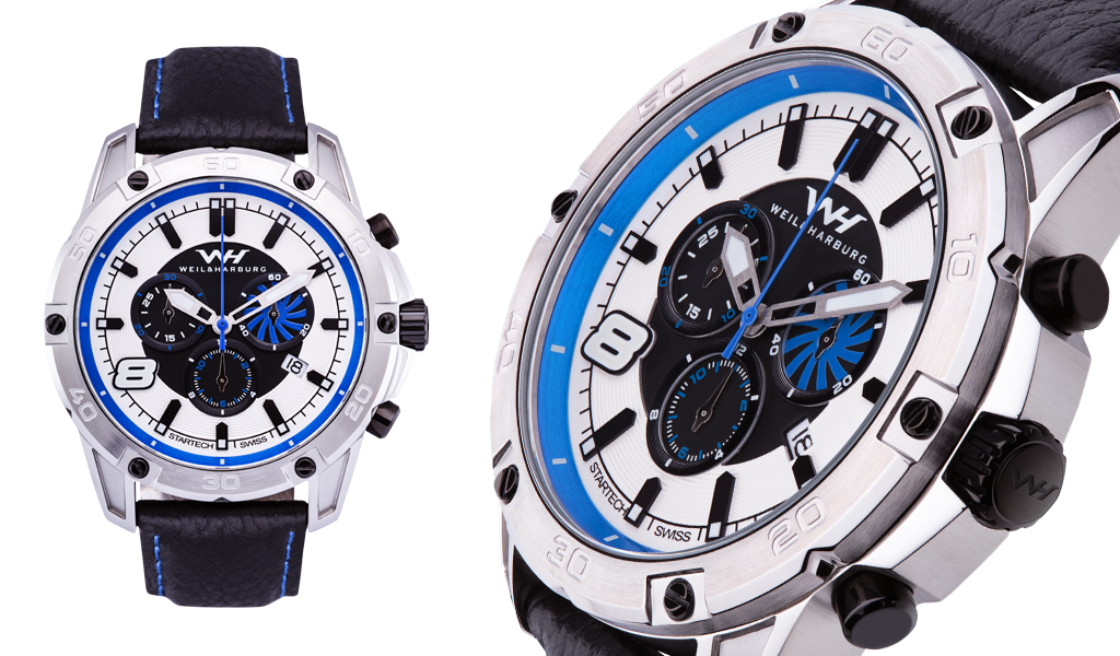 Stainless Steel Case and Bezel. White / Black / Blue Dial.