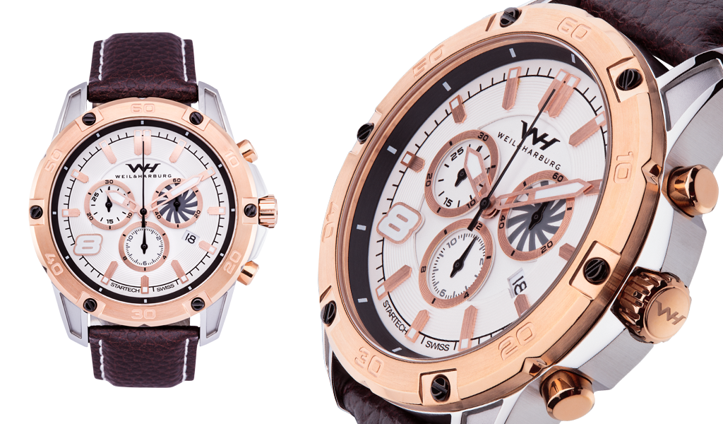 Stainless Steel Case with Rose Gold Plated Bezel. Rose Gold Plated / White Dial.