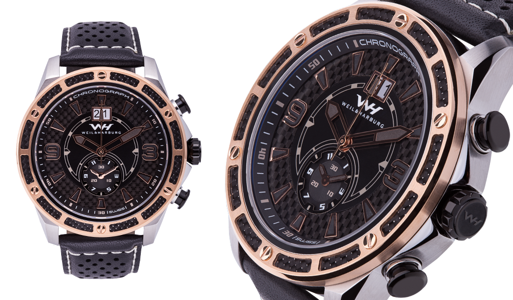 Stainles Steel Case with Rose Gold Plated / Carbon Fibre details (Black Dial)