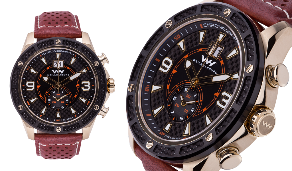 Rose Gold Plated Case with Black Carbon Fibre Bezel (Black/Red Dial)