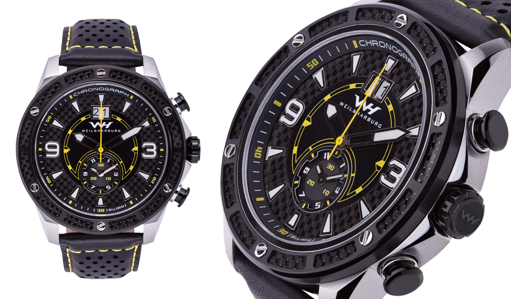 Stainles Steel Case with Black Plated / Carbon Fibre details (Black/Yellow Dial)